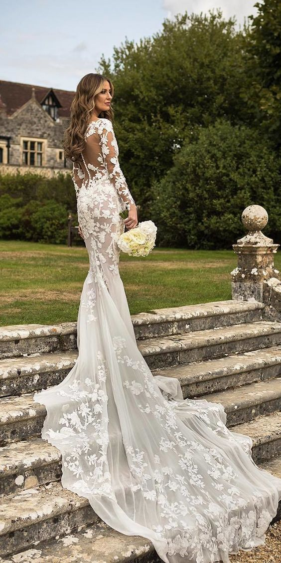 53 Elegant lace long sleeve wedding dresses