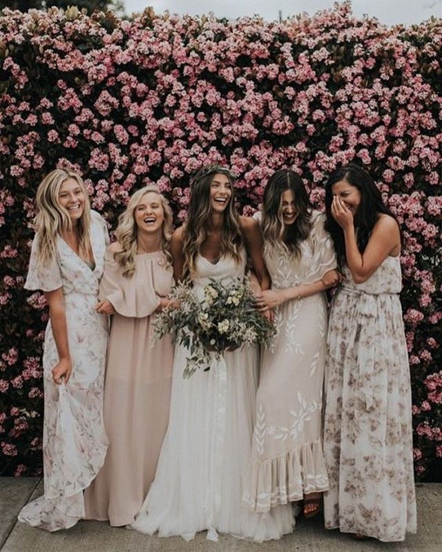 49 Spring 2020 Wedding Ideas – floral printed bridesmaid dresses