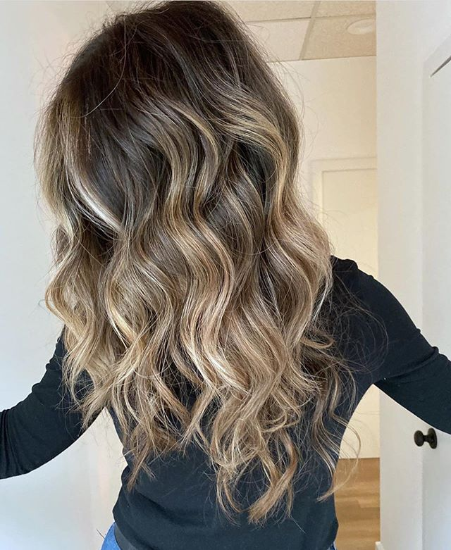 Medium brown with blonde highlights