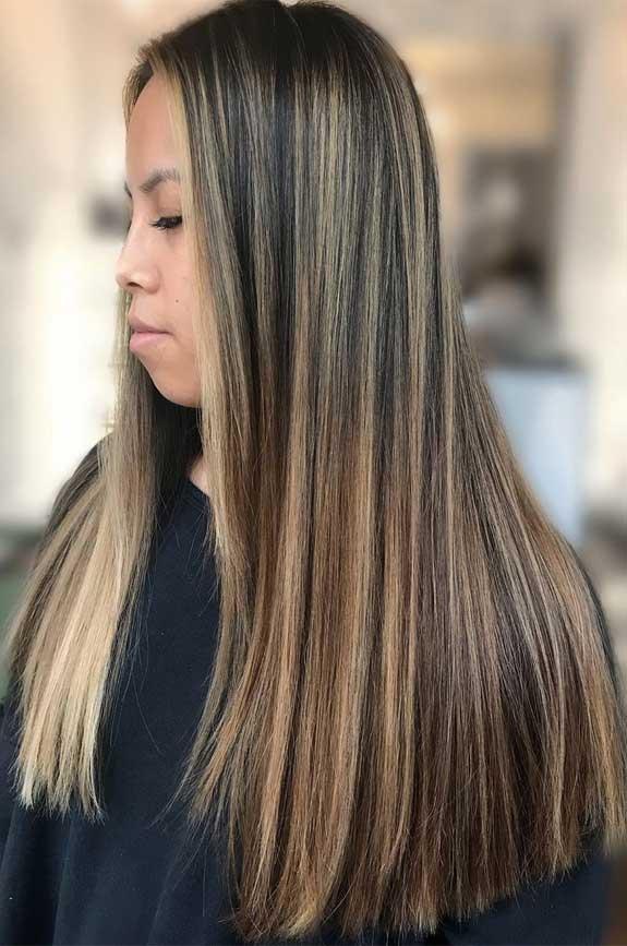 Medium brown with blonde highlights