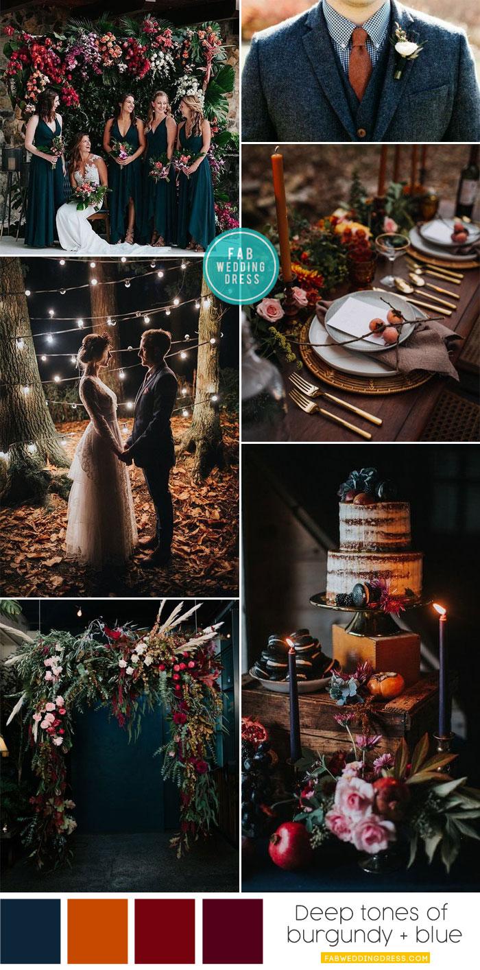 Autumn wedding color palette in dark blue & autumn colors